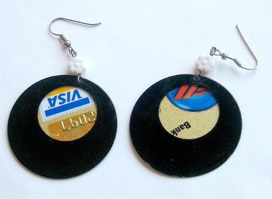 earrings made from a Visa card