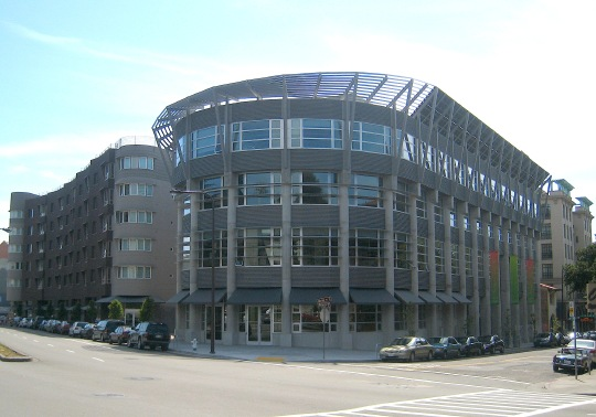The curved façade of the Brower Center, at Allston Way and Oxford Street.